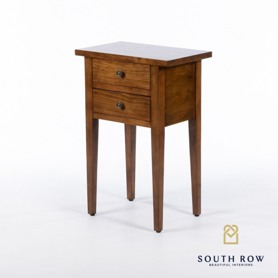 Chloe 2 drawer side table walnut