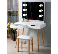 Hollywood Dressing Table Set (White & Wooden Leg)