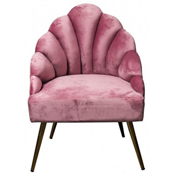 Shell Armchair (Pink with Gold Legs)