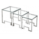 Marcus Nest of 3 Square Tables Art Deco Design - Silver
