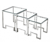 Marcus Nest of 3 Square Tables Art Deco Design - Silver