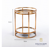 Amelia Gold Mirrored Side Table with Shelf