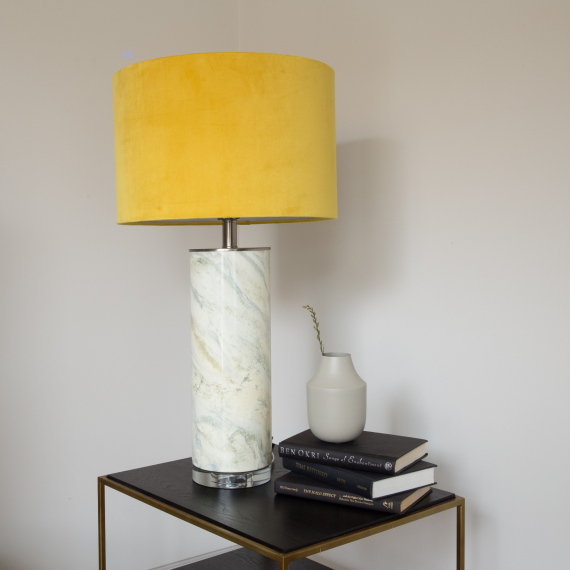 Marble Effect Table Lamp with Mustard Velvet Shade