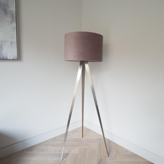 Brushed Chrome Tripod Floor Lamp - Blush Pink Velvet Shade