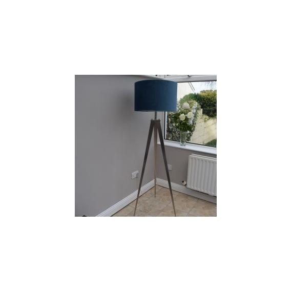 Brushed Chrome Tripod Floor Lamp - Navy Velvet Shade