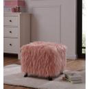 Milie Luxury Heavy Shag Faux Sheepskin Cube Stool- Pink