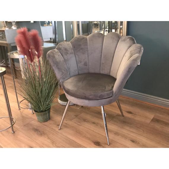 Shell Chair - Silver/Grey Velvet