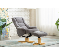 Prince Swivel Recliner Chair with Footstool - Charcoal