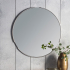 Tubular Notched Round Silver Mirror