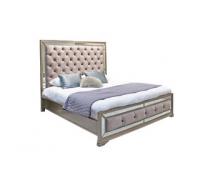 Jemima Taupe Velvet & Mirrored Glass Bed Super King