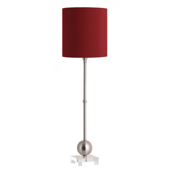 Lund Tall Table Lamp Round Red Shade, Tall Red Lamp