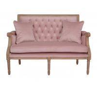 Pink Velvet Button Back Occasional Sofa