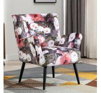 Mario Faversham White Floral Accent Chair
