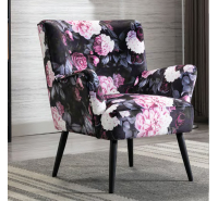 Mario Chepstow Red Floral Accent Chair