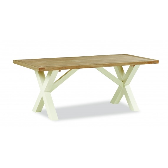 Cream Oak Cross Dining Table