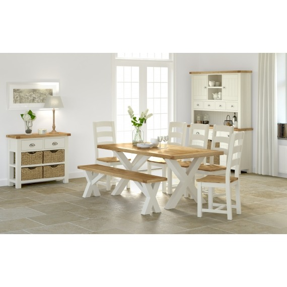 Cream Oak Cross Dining Table